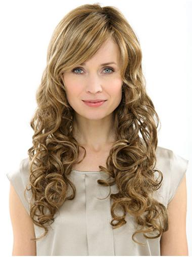 """With Bangs Blonde Long 22"""" Curly Cheap Long Wig"""