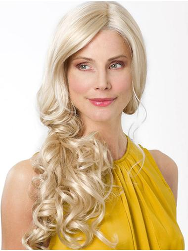 "Without Bangs Platinum Blonde Long 22"" Curly Long Hairstyle Wig"