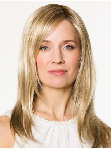 """Without Bangs Blonde Long  16"""" Straight 100% Hand Tied Wigs"""