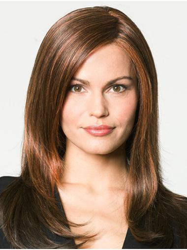 "Without Bangs Auburn Long  16"" Straight 100% Hand Tied Wigs"