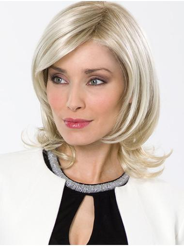 """Without Bangs Platinum Blonde Chin Length 12"""" Wavy Good Synthetic Wigs"""