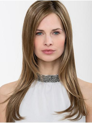 """Without Bangs Brown Long 24"""" Straight Long Women Wigs"""