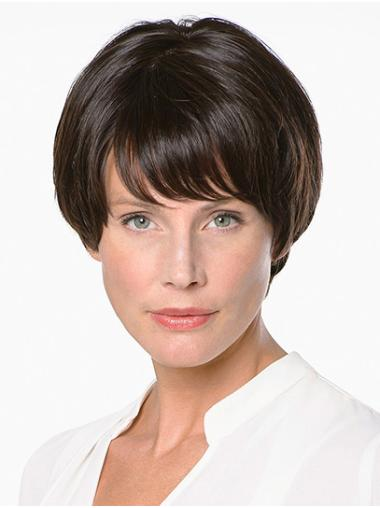 """With Bangs Brown Short 8"""" Straight Handmade Wigs"""
