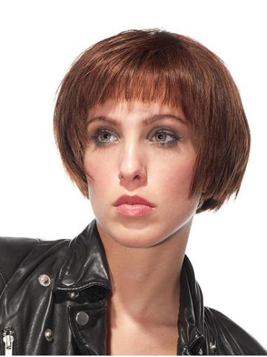 "Bobs Brown Short 8"" Straight 100% Hand Tied Wig"