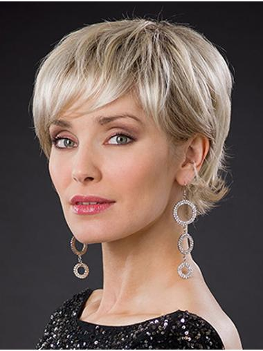 "Layered Platinum Blonde Short 8"" Wavy Short Hair Styles"