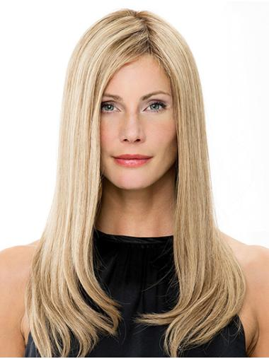 "Without Bangs Blonde Long 16"" Straight Ladies Wigs"