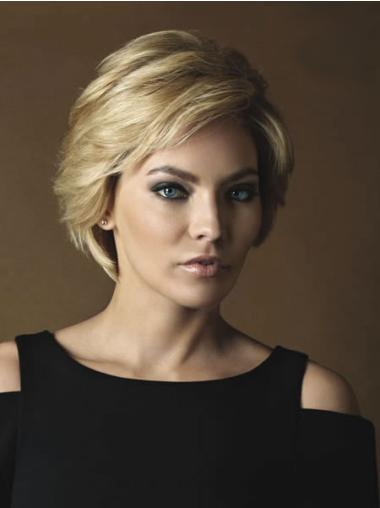 Short Blonde Wavy Monofilament Real Hair Wigs