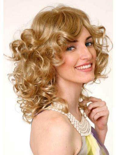 Blonde Curly Monofilament Lace Wigs