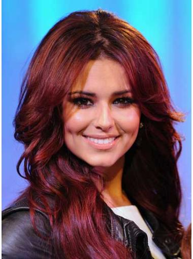 Long Red Wavy Lace Front Celebrity Wigs