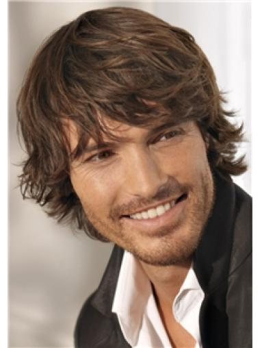 Short Brown Wavy Remy Human Hair Men Wigs