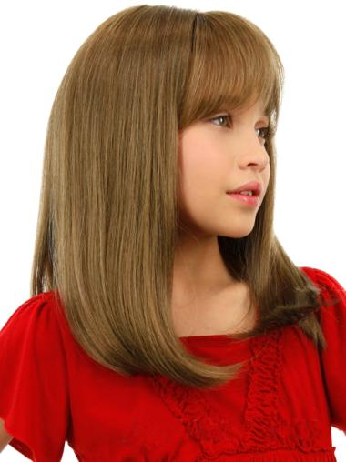 Blonde Straight Remy Human Hair Kids Wigs