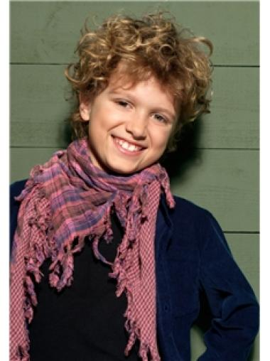 Short Blonde Curly Synthetic Kids Wigs