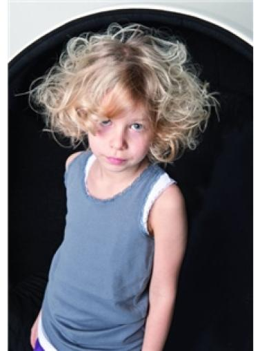 Chin Length Blonde Wavy Synthetic Kids Wigs