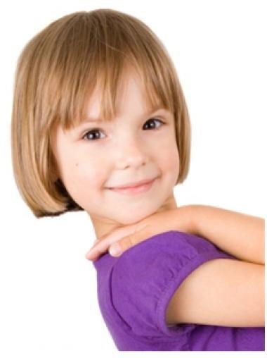 Short Blonde Hand-tied Human Hair Kids Wigs