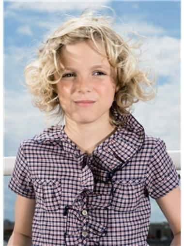 Blonde Curly 100% Hand-tied Synthetic Kids Wigs