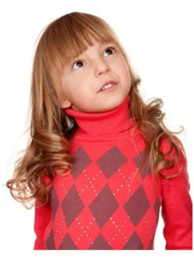 Long Wavy 100% Hand-tied Remy Human Hair Kids Wigs