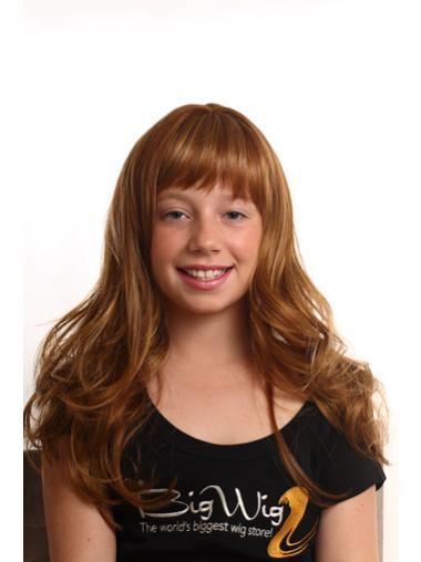 Long Auburn Wavy Synthetic Kids Wigs