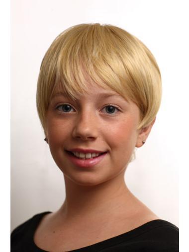 Short Blonde Straight Kids Wigs