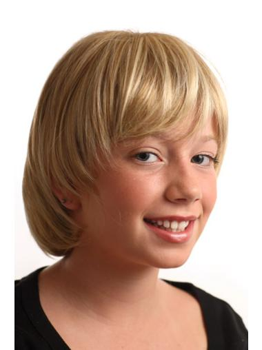 Short Blonde Straight Synthetic Kids Wigs