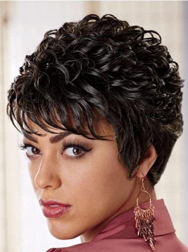 Short Brown Curly Wigs for Black Women