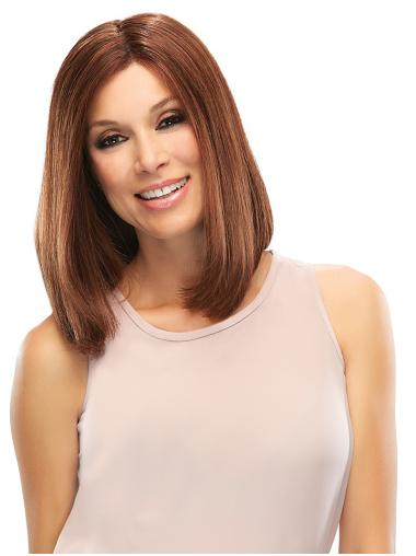 Straight Shoulder Length Without Bangs Auburn Hairstyles Human Hair Wigs