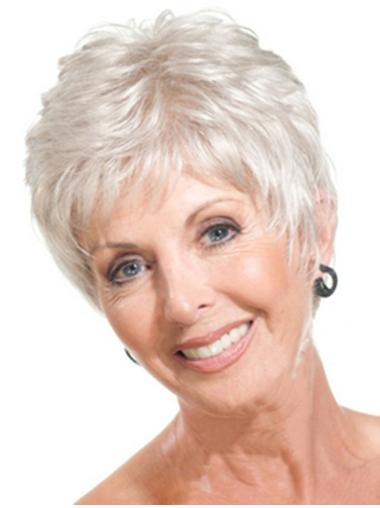 Straight Cropped Grey  Quality Synthetic Wigs