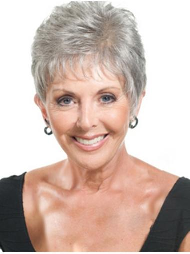 Straight Cropped Grey  Stylish Synthetic Wigs