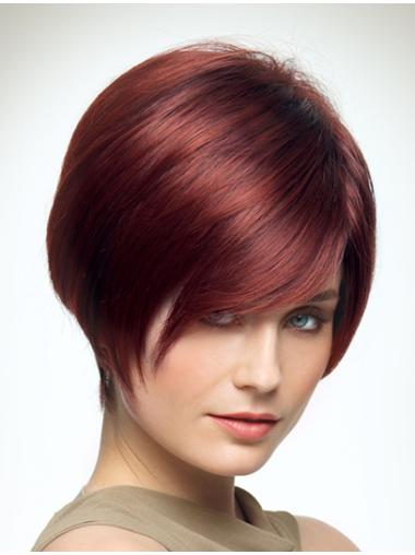 With Bangs Red Straight Trendy Synthetic Short Wigs