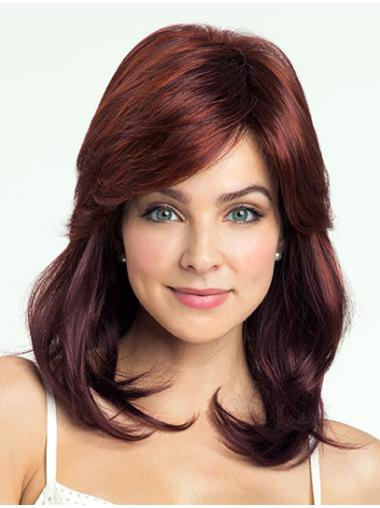 With Bangs Red Wavy Stylish Synthetic Medium Wigs
