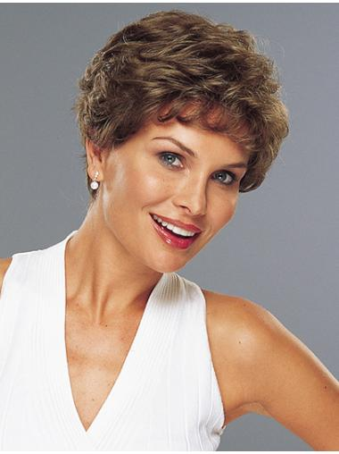 Classic Brown Wavy 100% Hand-tied Sleek Remy Human Hair Short Wigs