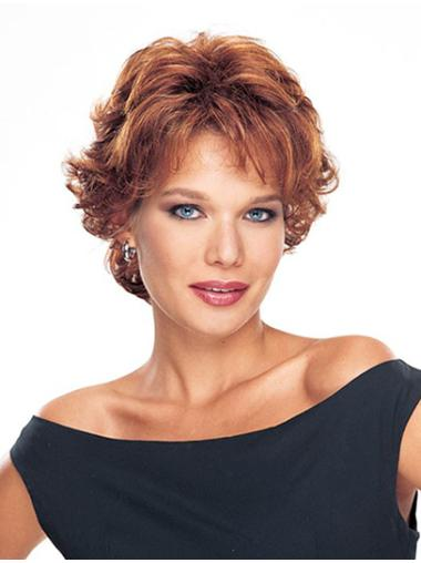 Classic Auburn Wavy Monofilament Realistic Synthetic Short Wigs