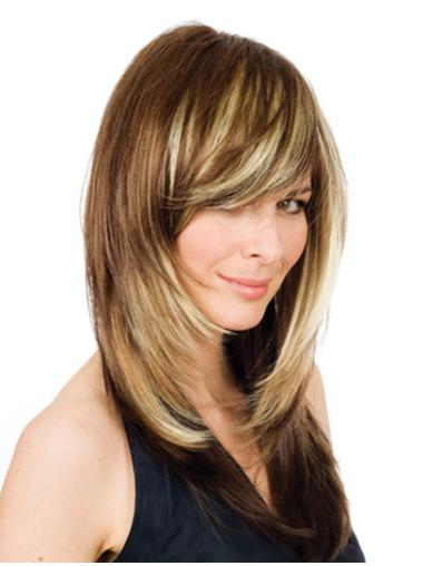Layered Blonde Wavy Lace Front Modern Remy Human Hair Long Wigs