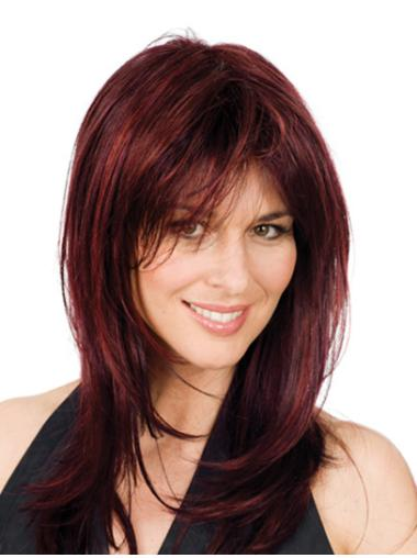 Layered Red Wavy Full Lace Great Synthetic Medium Wigs