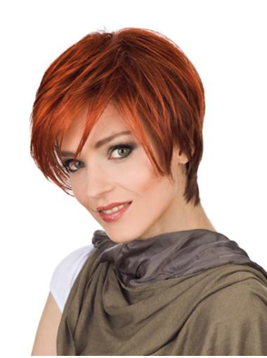 With Bangs Red Straight Monofilament Designed Synthetic Short Wigs