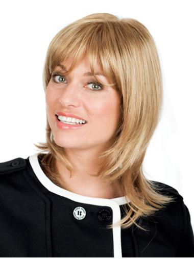With Bangs Blonde Wavy Full Lace Graceful Remy Human Hair Medium Wigs