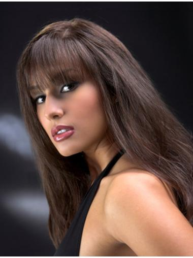 Full Lace Straight Long With Bangs Wigs