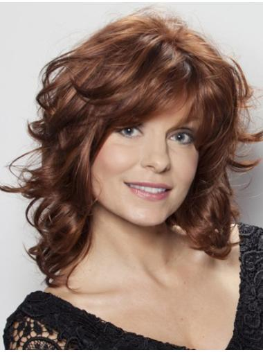 Medium Layered Wavy Capless Mono Top Lace Front Wigs