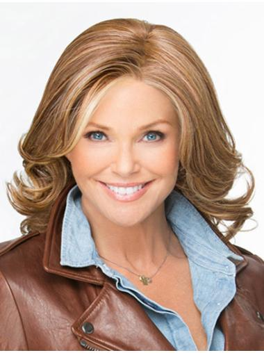 Brown Wavy Shoulder Length Lace Front Fashionable Synthetic Wigs