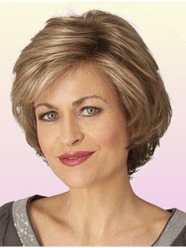 Classic Lace Front Wavy Chin Length Brown Sleek Synthetic Wigs