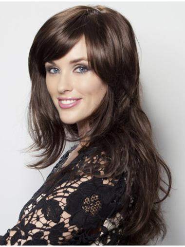 With Bangs Lace Front Wavy Long Black Wonderful Remy Human Hair Wigs
