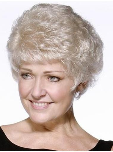 Wavy Grey 100% Hand-tied Short Cheap Synthetic Wigs