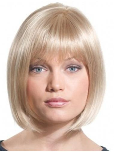 Straight Blonde Bobs Monofilament Chin Length Designed Synthetic Wigs