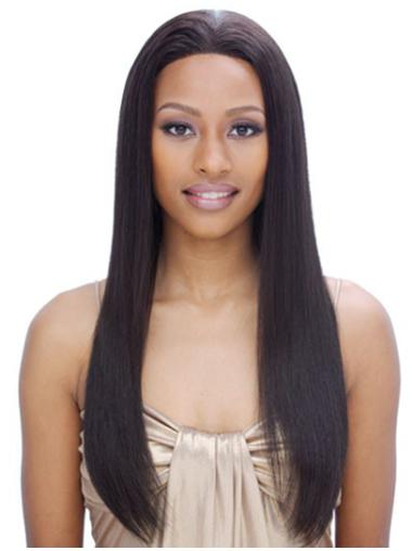 Straight Black Without Bangs Full Lace Long Hairstyles Remy Human Hair Wigs