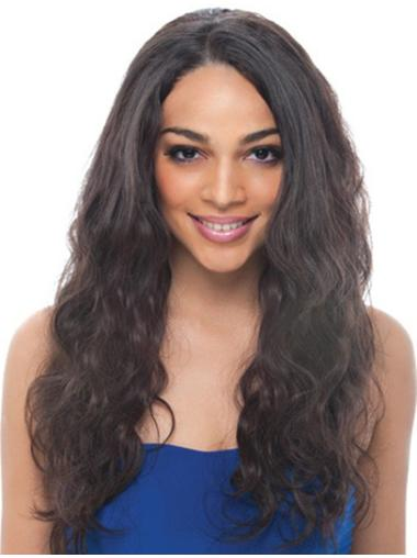 Wavy Black Without Bangs Lace Front Long High Quality Remy Human Hair Wigs