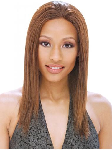 Straight Brown Without Bangs Full Lace Shoulder Length Natural Remy Human Hair Wigs