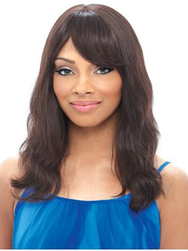 Wavy Black With Bangs Lace Front Shoulder Length Realistic Remy Human Hair Wigs