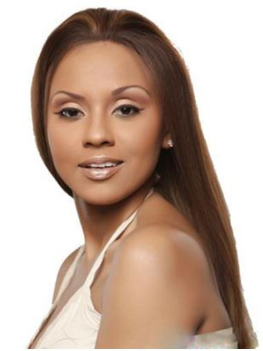 Straight Brown Without Bangs Lace Front Long Soft Remy Human Hair Wigs