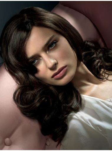 Wavy Black Without Bangs Lace Front Long Trendy Remy Human Hair Wigs