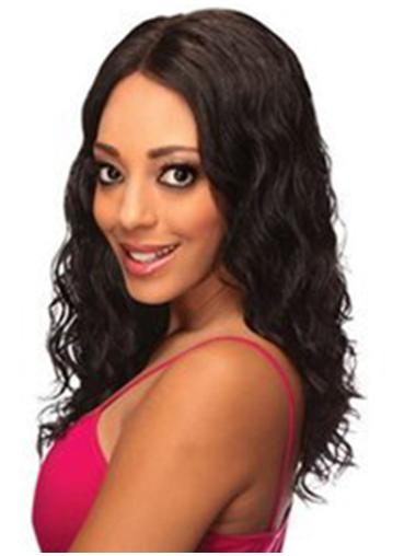 Wavy Black Without Bangs Lace Front Shoulder Length Best Remy Human Hair Wigs