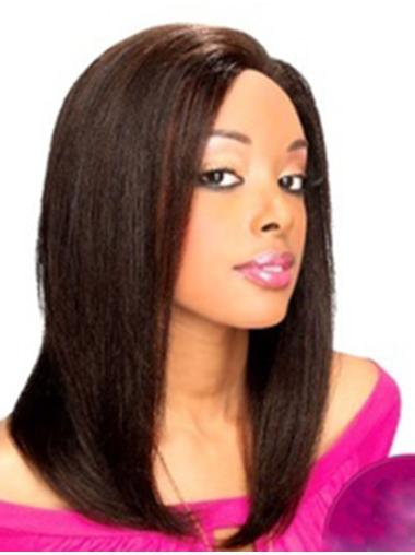 Straight Black Without Bangs Lace Front Shoulder Length Cheap Remy Human Hair Wigs